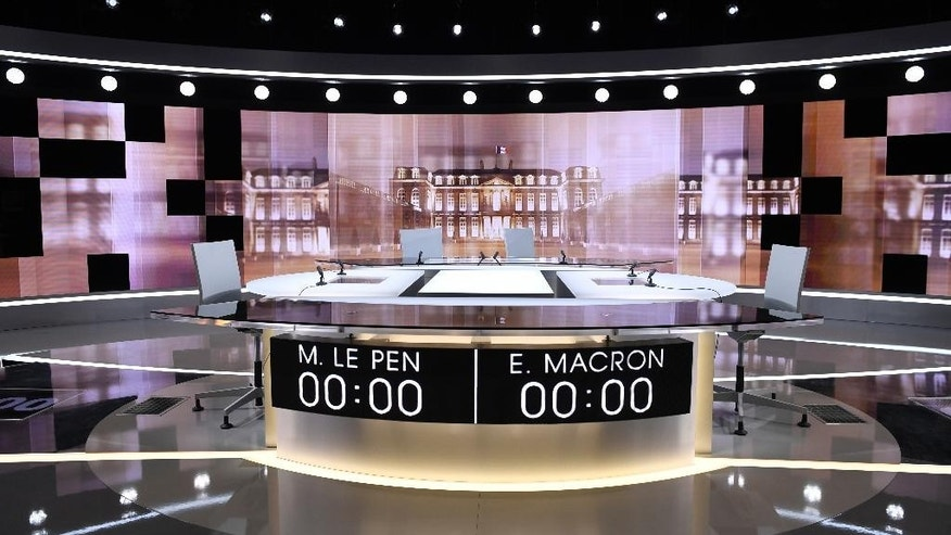 This picture take Tuesday May 2, 2017 in La Plaine Saint Denis, outside Paris, shows the TV studio where French presidential candidates will debate Wednesday, four days before the vote for the second round. Centrist presidential candidate Emmanuel Macron will debate with far-right candidate Marine Le Pen. (Eric Feferberg, Pool via AP)