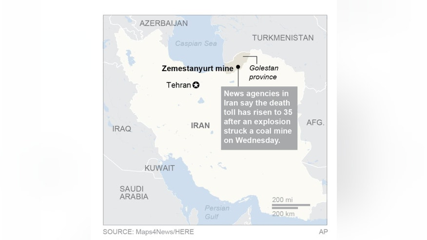 UPDATES death toll to 35; map locates mine in Iran.; 2c x 4 inches; 96.3 mm x 101 mm;