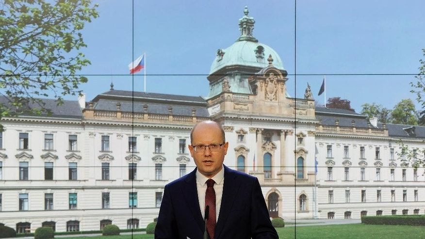 Czech Prime Minister Bohuslav Sobotka speaks during a press conference in Prague on Friday, May 5, 2017. Sobotka said he had changed his mind about resigning with his government and instead wanted to solve a political crisis by firing his finance minister Andrej Babis.  (Ondrej Deml/CTK via AP) ** SLOVAKIA OUT **