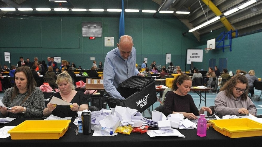 Election count staff tally ballot papers for the local election in Chelmsford, Britain, Thursday May 4, 2017.  Votes are still being counted, but initial indications predict large gains for the Conservative Party in these local council elections, which seems an auspicious sign for the party ahead of a national election next month, and bad news for rivals on both the left and the right of the political arena. (Nick Ansell/PA via AP)