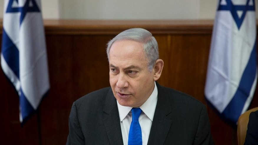 Israeli Prime Minister Benjamin Netanyahu chairs a weekly cabinet meeting at his office in Jerusalem, Sunday, May 7, 2017. (AP Photo/Oded Balilty, Pool)