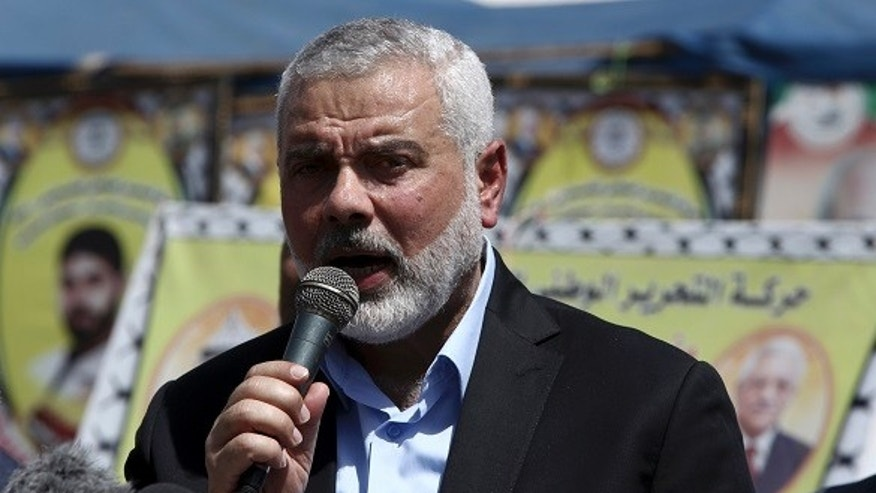 Ismail Haniyeh, the new leader of Hamas, visited Israeli-held Palestinian prisoners in Gaza on Monday, May 8, 2017.