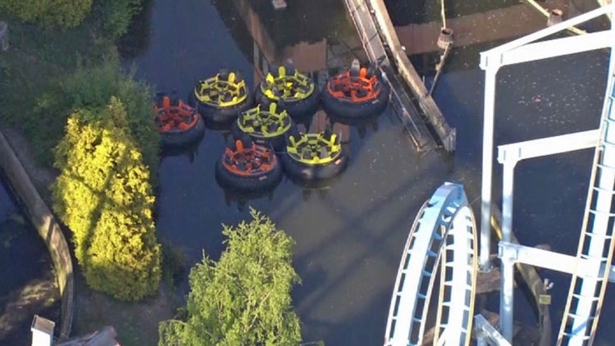 An 11-year-old British girl fell off this ride, Splash Canyon, at the Drayton Manor theme park in Tamworth, Staffordshire on May 9, 2017.