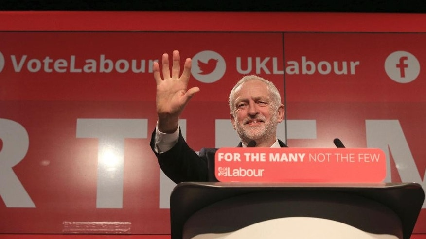 Britain's Labour leader Jeremy Corbyn launches the party's General Election campaign at Event City in Manchester England Tuesday May 9, 2017.  Britain goes to the polls in a General Election on June 8. (Peter Byrne/PA via AP)