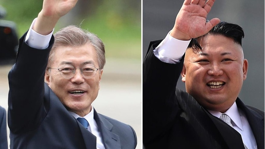 FILE -  These combination of file photos shows South Korea's new President Moon Jae-in, left, waves in Seoul, South Korea on May 10, 2017 and North Korean leader Kim Jong Un on April 15, 2017. Moon said he is willing to meet with Kim — if, of course, the conditions are right. The problem is, they pretty much never are. Relations between the two Koreas have deteriorated dramatically in recent years, and Pyongyang is almost certain to take whatever positions newly elected President Moon may assume toward increased engagement with a good deal of caution. (AP Photo/Lee Jin-man, Wong Maye-E, Files)