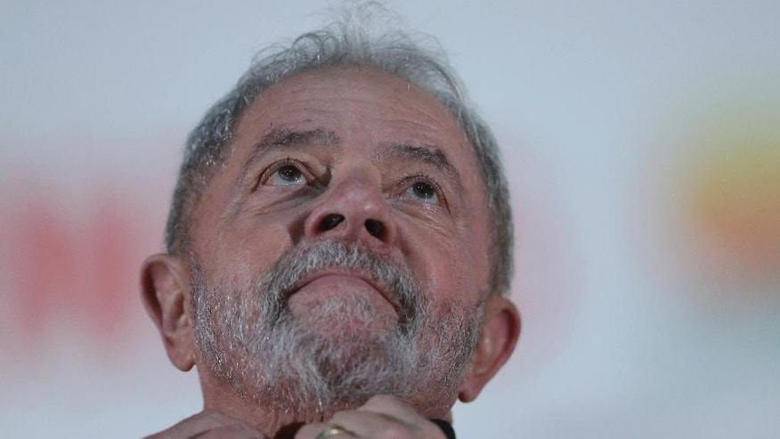 In this March 13, 2017 file photo, Brazil's former President Luiz Inacio Lula da Silva attends the opening of National Congress of Rural Workers in Brasilia, Brazil.