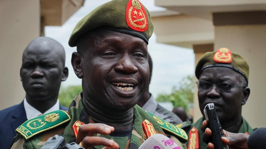 South Sudan's newly appointed army chief of staff Lt. Gen. James Ajongo Mawut speaks to the media in Juba, South Sudan Wednesday, May 10, 2017. Former army chief of staff Paul Malong, who had been proposed for U.N. sanctions and accused of directing last year's fighting in the capital that left hundreds dead, was removed from his post on Tuesday. (AP Photo/Bullen Chol)