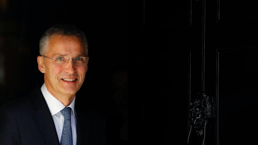 NATO Secretary General Jens Stoltenberg leaves 10 Downing Street after a meeting with Britain's Prime Minister Theresa May in London, Wednesday, May 10, 2017. (AP Photo/Frank Augstein)