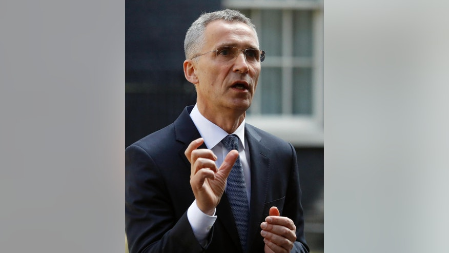 NATO Secretary General Jens Stoltenberg gives a statement as he leaves 10 Downing Street after a meeting with Britain's Prime Minister Theresa May in London, Wednesday, May 10, 2017. (AP Photo/Frank Augstein)
