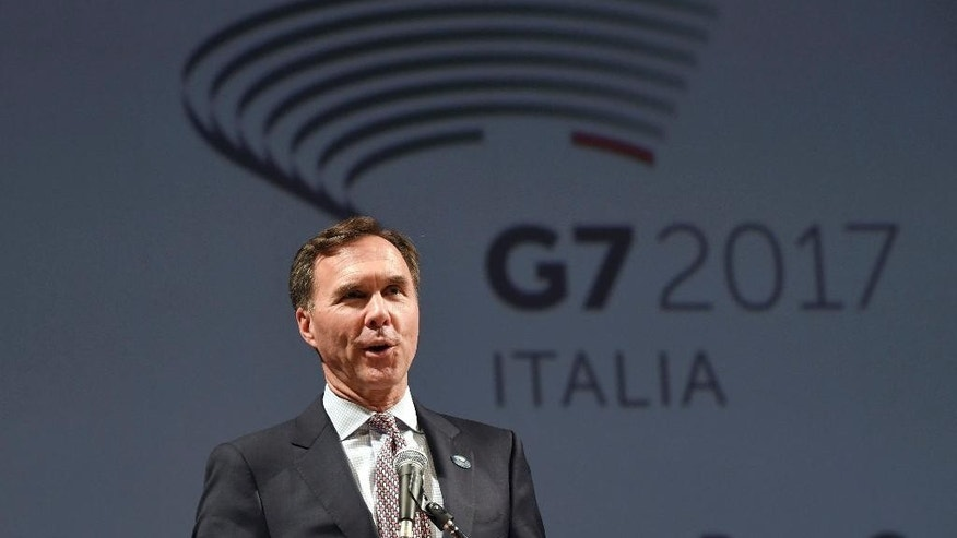 Canadian Finance Minister William Morneau speaks during the opening event of a G7 of Finance Ministers and Central Bank Governors meeting, in Bari, southern Italy, Thursday, May 11, 2017. (Ciro Fusco/ANSA via AP)
