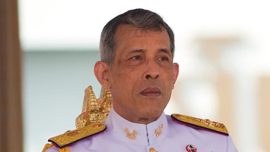 Thailand's King Vajiralongkorn Bodindradebayavarangkun addresses the audience at the royal ploughing ceremony in Bangkok, Thailand, Friday, May 12, 2017. The annual event marks the beginning of the growing season in Thailand for rice. (AP Photo/Sakchai Lalit)