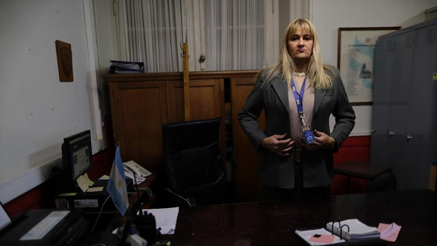 "Police Analia Pasantino poses for a picture during an interview in Buenos Aires, Argentina, Thursday, May 11, 2017. ""This is a milestone,"" Pasantino said, ""I'm the first transgender police chief in Latin America. It's an unprecedented and important step to show Latin America and the world that we are an open institution."" (AP Photo/Natacha Pisarenko)"