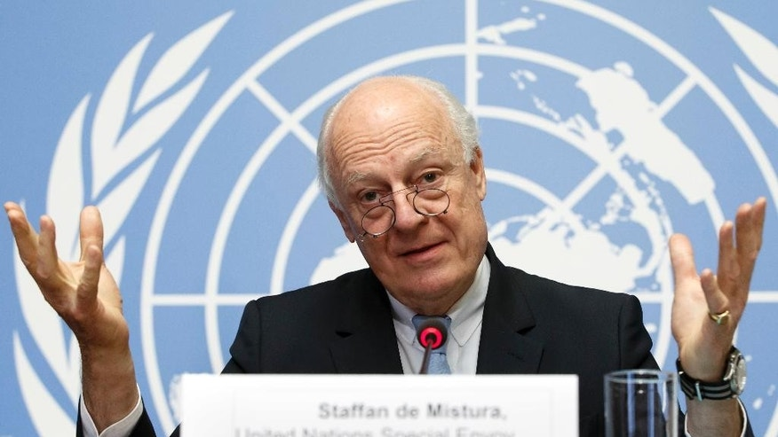 UN Special Envoy for Syria Staffan de Mistura informs the media one day before the resumption of the negotiations between the Syrian government and the opposition, at the European headquarters of the United Nations in Geneva, Switzerland, Monday, May 15, 2017. (Salvatore Di Nolfi/Keystone via AP)