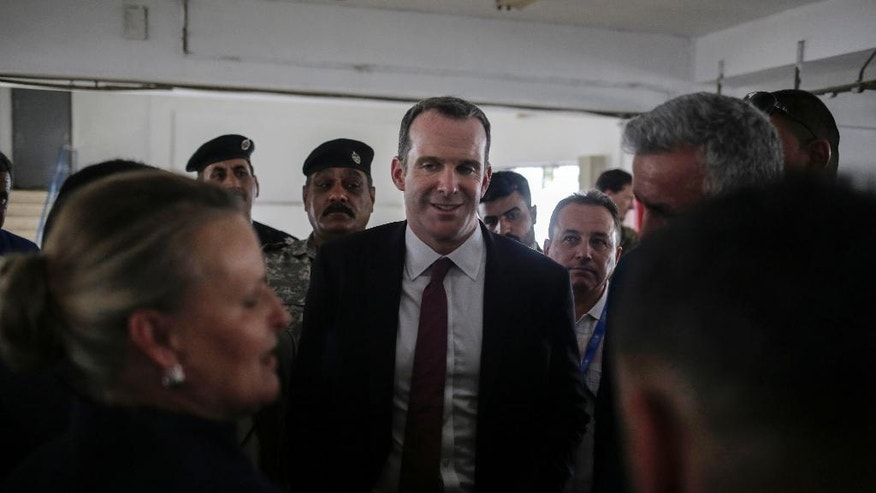 "Brett McGurk, the special presidential envoy for the global coalition against the Islamic State visits a water treatment plant south of Mosul on Monday, May 15, 2017. The senior U.S. official says the fight to retake Mosul from the Islamic State group is approaching its ""final stages.""  (AP Photo/Bram Janssen)"
