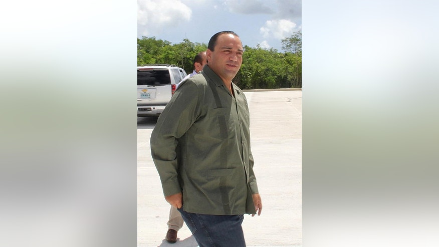 Undated photo of Roberto Borge, the former governor of Quintana Roo, visiting Cancun, Mexico.