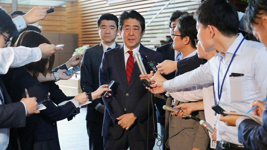 Japan's Prime Minister Shinzo Abe speaks on reports of the launch of a North Korean missile to reporters , at his official residence in Tokyo, Japan May 29, 2017.