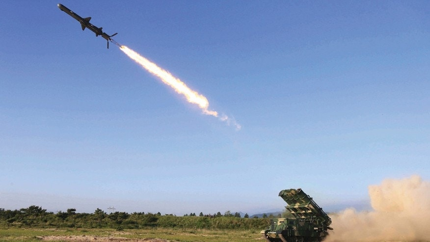 "This undated photo distributed on Friday, June 9, 2017, by the North Korean government, shows a test of a new type of cruise missile launch at an undisclosed location in North Korea. Independent journalists were not given access to cover the event depicted in this image distributed by the Korean Central News Agency via Korea News Service. North Korea said Friday it has test-launched a new type of cruise missile capable of striking U.S. and South Korean warships ""at will,"" as South Korea found a suspected North Korean drone near the tense border between the rivals. (Korean Central News Agency/Korea News Service via AP)"