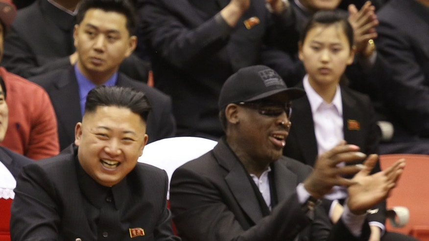 Feb. 28, 2013: North Korean leader Kim Jong Un, left, and former NBA star Dennis Rodman watch North Korea and the U.S. play an exhibition basketball game in Pyongyang, North Korea. (AP)