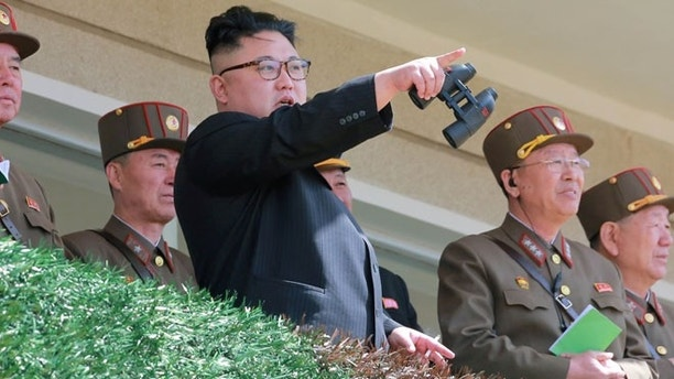 North Korean Leader Kim Jong Un observes a target-striking contest by the Korean People's Army (KPA) in this undated photo, released by North Korea's Korean Central News Agency (KCNA), April 13, 2017. REUTERS/KCNA  ATTENTION EDITORS - THIS PICTURE WAS PROVIDED BY A THIRD PARTY. REUTERS IS UNABLE TO INDEPENDENTLY VERIFY THE AUTHENTICITY, CONTENT, LOCATION OR DATE OF THIS IMAGE. FOR EDITORIAL USE ONLY. NOT FOR SALE FOR MARKETING OR ADVERTISING CAMPAIGNS. NO THIRD PARTY SALES. NOT FOR USE BY REUTERS THIRD PARTY DISTRIBUTORS. SOUTH KOREA OUT. NO COMMERCIAL OR EDITORIAL SALES IN SOUTH KOREA. THIS PICTURE IS DISTRIBUTED EXACTLY AS RECEIVED BY REUTERS, AS A SERVICE TO CLIENTS. - RTX35FH8