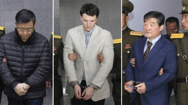 FILE - In this combination of file photos, from left, Canadian pastor Hyeon Soo Lim, American tourist Otto Warmbier and South Korean-born U.S. citizen Kim Dong Chul, are escorted at courtrooms in Pyongyang, North Korea. Kim was sentenced in April 2016 to 10 years in prison with hard labor after being convicted of espionage. Warmbier was sentenced in March 2016 to 15 years in prison with hard labor for subversion. Lim was sentenced in December 2015 to life in prison for harming the dignity of North Korea's leadership and trying to use religion to destroy its system. (AP Photo/Kim Kwang Hyon, Jon Chol Jin, Files)