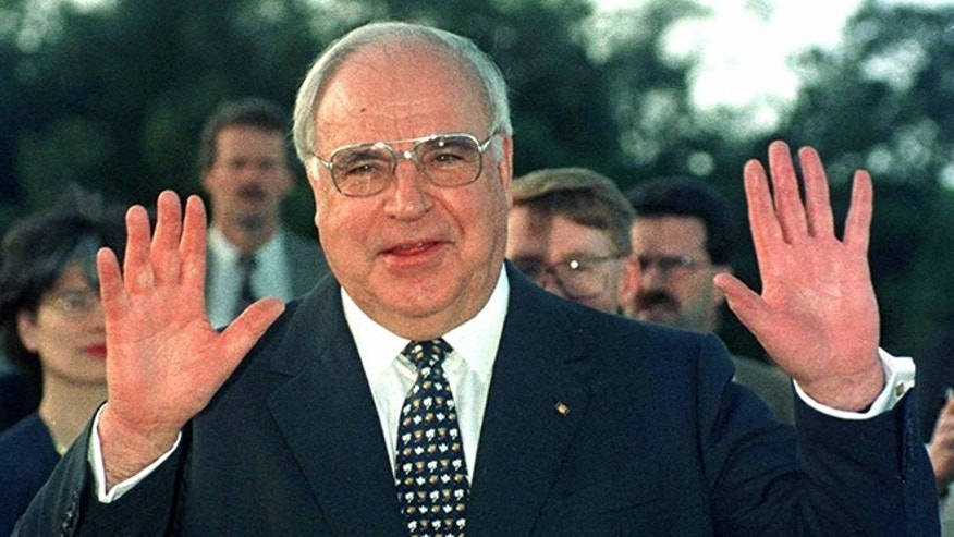 German Chancellor Helmut Kohl waves during a tour of Australia.