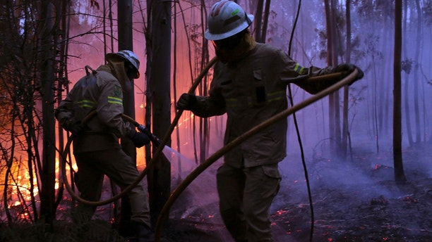 Portuguese National Republican Guard firefighters work to stop a forest fire from reaching the village of Avelar, central Portugal, at sunrise Sunday, June 18 2017. A number of people have been killed in forest fires in central Portugal, many of them trapped in their cars as flames swept over a road Saturday evening. (AP Photo/Armando Franca),