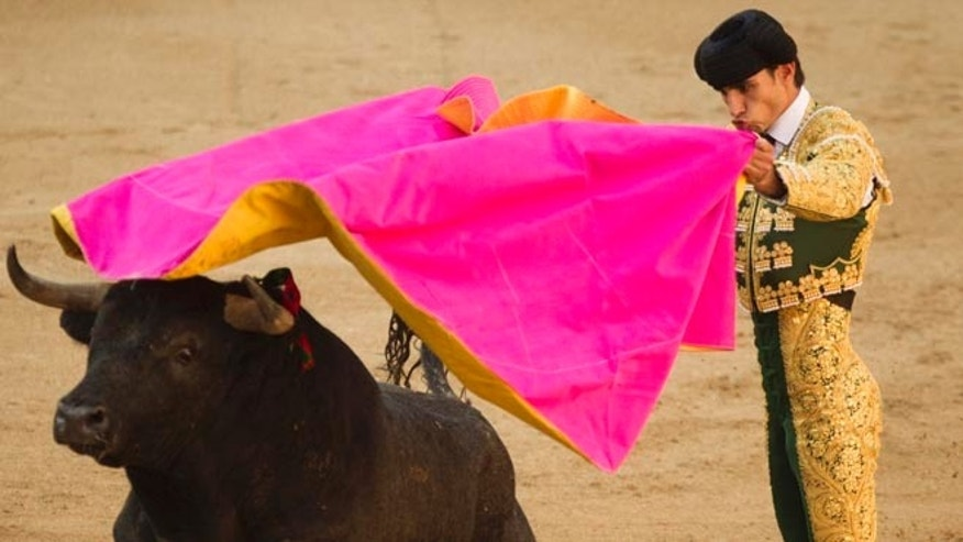 In this May 16, 2011 file photo, Spanish bullfighter Victor Barrio performs during a bullfight of the San Isidro's fair at the Las Ventas Bullring in Madrid.