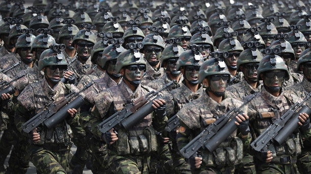 Commandoes march across the Kim Il Sung Square during a military parade on Saturday, April 15, 2017, in Pyongyang, North Korea to celebrate the 105th birth anniversary of Kim Il Sung, the country's late founder and grandfather of current ruler Kim Jong Un. (AP Photo/Wong Maye-E)