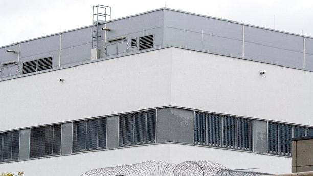 The prison in Regensburg, southern Germany, photographed Thursday, June 29, 2017 which will be evacuated after a WWII bomb was found nearby. The bomb was found within a few hundred meters (yards) of the prison Wednesday.  (Armin Weigel/dpa via AP)