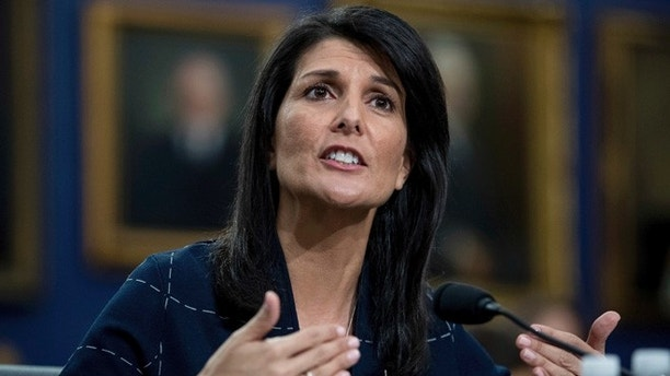 U.S. Ambassador to the UN Nikki Haley testifies on Capitol Hill in Washington, Tuesday, June 27, 2017, before the House State, Foreign Operations, and Related Programs subcommittee budget hearing on the United Nations and International Organizations. (AP Photo/Andrew Harnik)