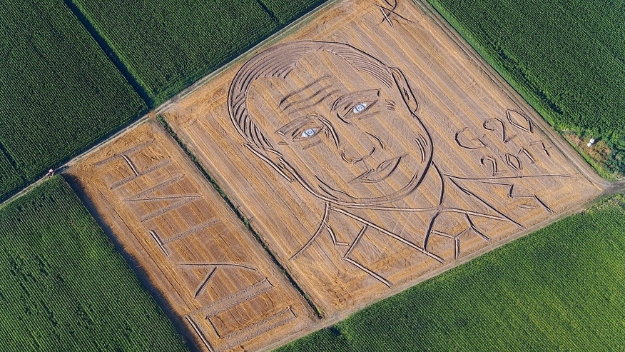 Face of Vladimir Putin has just appeared in a farmer's field