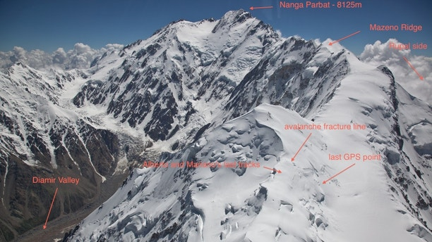Image shows the area where  Alberto Zerain and Mariano Galvan's last tracks were believed to have been see before the avalanche on Mazeno Ridge while climbing Nanga Parbat, Pakistan July 1, 2017. Picture taken July 1, 2017.  Alex Gavan/Handout via REUTERS ATTENTION EDITORS - THIS IMAGE WAS PROVIDED BY A THIRD PARTY. - RTX3ASFE