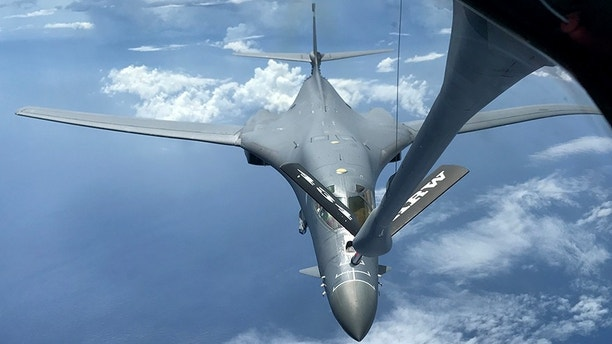 A U.S. Air Force B-1B Lancer assigned to the 37th Expeditionary Bomb Squadron, deployed from Ellsworth Air Force Base, South Dakota, refuels during a 10-hour mission from Andersen Air Force Base, Guam, flying in the vicinity of Kyushu, Japan, the East China Sea, and the Korean peninsula, Aug. 7, 2017 (HST). During the mission, two B-1s were joined by Japan Air Self-Defense Force F-15s as well as Republic of Korea Air Force KF-16 fighter jets, performing two sequential bilateral missions. These flights with Japan and the Republic of Korea (ROK) demonstrate solidarity between Japan, ROK and the U.S. to defend against provocative and destabilizing actions in the Pacific theater. (U.S. Air Force photo/Airman 1st Class Gerald Willis)