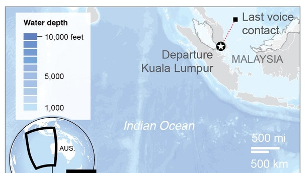 Map locates new proposed search area for MH370; 2c x 3 inches; 96.3 mm x 76 mm;