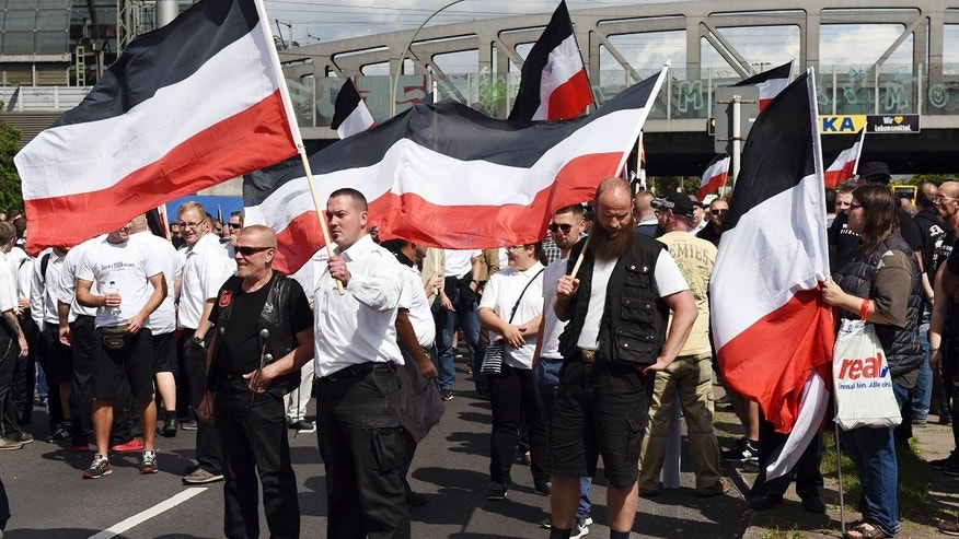 Far-right extremists gather to commemorate the death of Nazi Rudolf Hess in Berlin's Spandau district on Saturday.