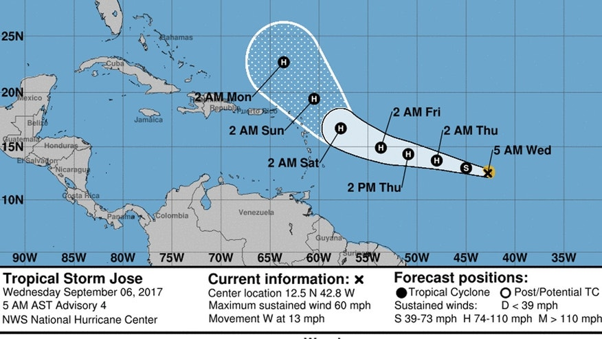 3 hurricanes now active in the Atlantic basin: Irma, Jose and Katia