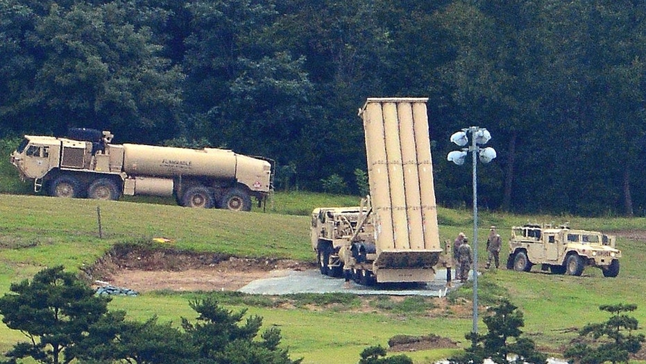 The THAAD missile defense system is seen in Seongju, South Korea Wednesday.