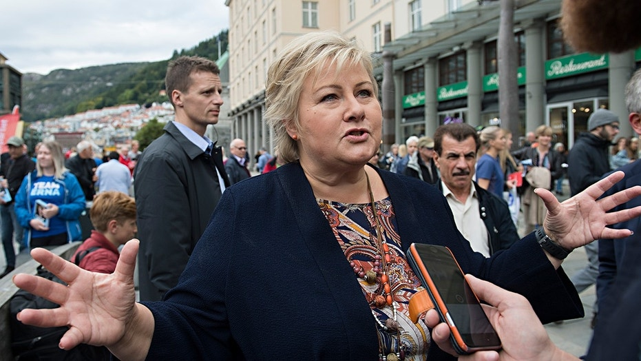 Norway's Prime Minister and leader of the Conservative Party, Erna Solberg, at an election campaign event in Bergen, Norway Friday, Sept. 8, 2017.