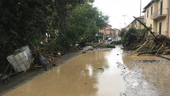 Trees lie on a flooded street in Leghorn, Italy, Sunday, Sept. 10, 2017.  Torrential rains have pounded Italy, leaving at least 5 dead in the Tuscan port town of Leghorn. State TV said 4 of the dead were family members found in their home's flooded basement Sunday, and 3 people were missing. In Rome, flooding forced several subway stations to close. (Alessio Novi/ANSA via AP)