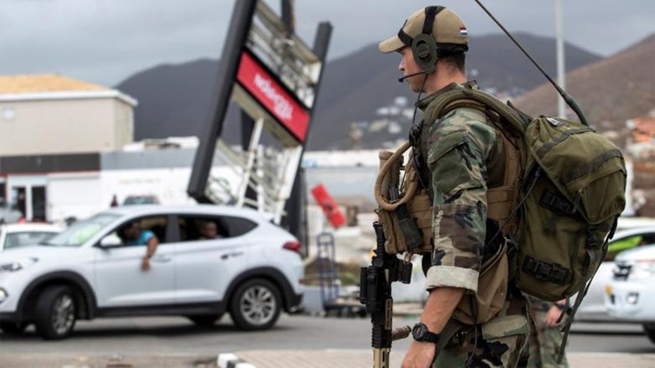 Soldiers patrol St. Martin amid reports of looting.