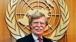 John Bolton, new US Ambassador to the United Nations, smiles during meeting with Secretary-General Annan in New York.  John Bolton, new United States Ambassador to the United Nations, smiles during a meeting to present his credentials to United Nations Secretary-General Kofi Annan at the U.N. headquarters in New York August 2, 2005. Bolton was made Ambassador to the U.N. by President George W. Bush in a recess appointment on August 1, 2005. REUTERS/Mike Segar - RP6DRMWNTBAA