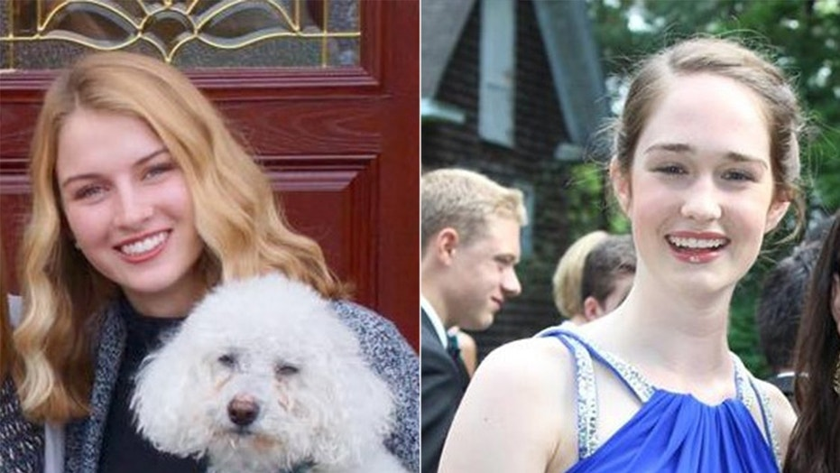Boston College students Court Siverling, left, and Michelle Krug, right, have asked for prayers for the woman who attacked them with acid in a French train station.