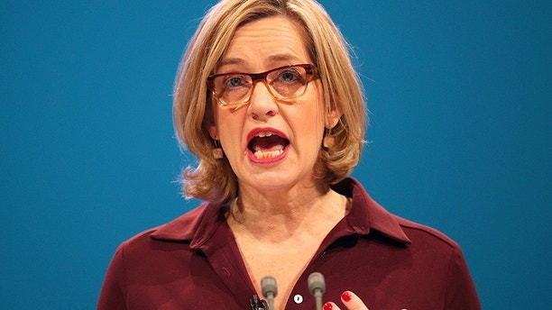 Britain's Home Secretary Amber Rudd speaks at the Conservative Party conference in Manchester, October 3, 2017. REUTERS/Hannah McKay - RC19A3FE1350