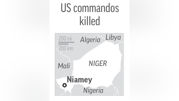 NIGER COMMANDOS 100517: Map locates Niamey, Niger, where 3 US commandos were killed; 1c x 2 1/2 inches; with BC-US--United States-Niger; JEM; ETA 7 a.m. SOURCE: maps4news/HERE, U.S. Africa Command. Editor's Note: It is mandatory to include all sources that accompany this graphic when repurposing or editing it for publication