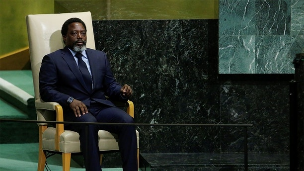 Joseph Kabila Kabange, President of the Democratic Republic of the Congo sits in the chair reserved for heads of state before addressing the 72nd United Nations General Assembly at U.N. headquarters in New York, U.S., September 23, 2017. REUTERS/Eduardo Munoz - RC1C411AA540