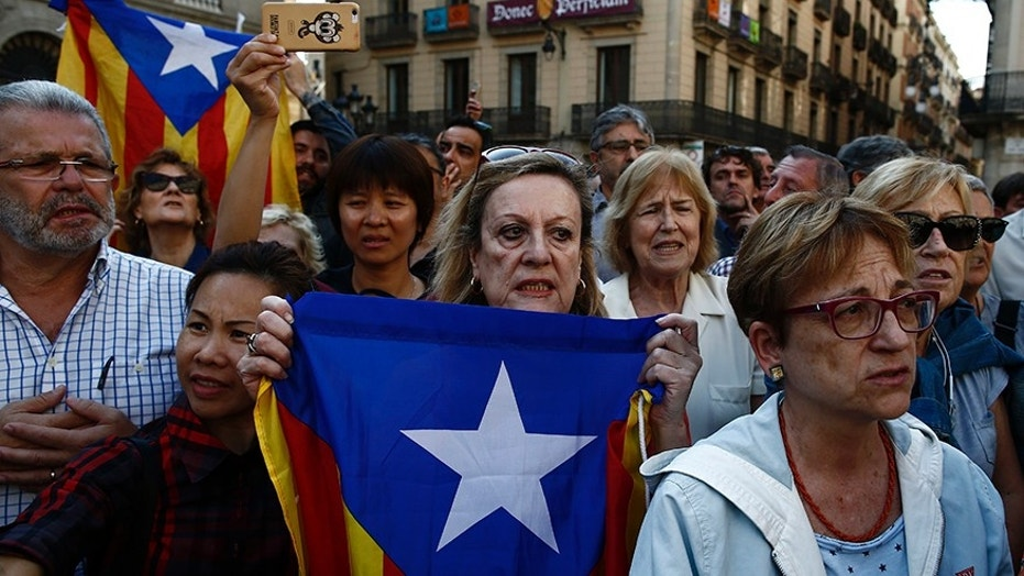 Protesters were gathering for a fresh round of demonstrations in Barcelona Tuesday to demand the release of two leaders of Catalonia's pro-independence movement who were jailed in a sedition probe.