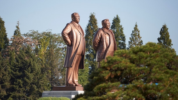 Statues of former leaders Kim Il Sung and Kim Jong Il are seen in Wonsan, North Korea October 2016. To match Special Report NORTHKOREA-TOURISM/WONSAN Christian Petersen-Clausen/Handout via REUTERS ATTENTION EDITORS - THIS IMAGE WAS PROVIDED BY A THIRD PARTY. - RC16ED6C5AD0
