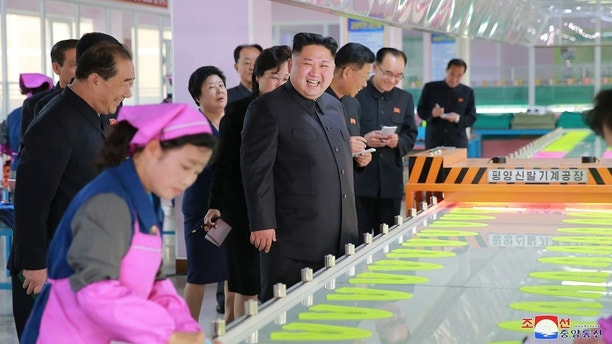 North Korean leader Kim Jong-Un visits Ryuwon Footwear Factory in this undated photo released by North Korea's Korean Central News Agency (KCNA) in Pyongyang on October 19, 2017. KCNA/via REUTERS    ATTENTION EDITORS - THIS IMAGE WAS PROVIDED BY A THIRD PARTY. REUTERS IS UNABLE TO INDEPENDENTLY VERIFY THIS IMAGE. NO THIRD PARTY SALES. SOUTH KOREA OUT. NO RESALES. NO ARCHIVES - RC1BD7505670