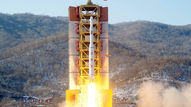 A North Korean long-range rocket is launched into the air at the Sohae rocket launch site, North Korea, in this photo released by Kyodo February 7, 2016. North Korea launched a long-range rocket on Sunday carrying what it has called a satellite, but its neighbours and Washington denounced the launch as a missile test, conducted in defiance of U.N. sanctions and just weeks after a nuclear bomb test.  Mandatory credit REUTERS/Kyodo    ATTENTION EDITORS - THIS IMAGE HAS BEEN SUPPLIED BY A THIRD PARTY. FOR EDITORIAL USE ONLY. NOT FOR SALE FOR MARKETING OR ADVERTISING CAMPAIGNS. MANDATORY CREDIT. JAPAN OUT. NO COMMERCIAL OR EDITORIAL SALES IN JAPAN. THIS PICTURE IS DISTRIBUTED EXACTLY AS RECEIVED BY REUTERS, AS A SERVICE TO CLIENTS. - GF10000299150