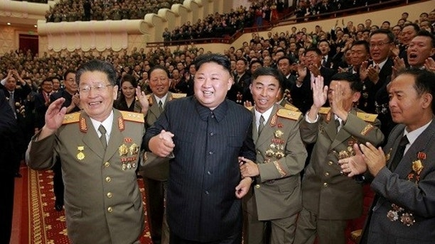 North Korean leader Kim Jong Un reacts during a celebration for nuclear scientists and engineers who contributed to a hydrogen bomb test, in this undated photo released by North Korea's Korean Central News Agency (KCNA) in Pyongyang on September 10, 2017. KCNA via REUTERS   ATTENTION EDITORS - THIS PICTURE WAS PROVIDED BY A THIRD PARTY. REUTERS IS UNABLE TO INDEPENDENTLY VERIFY THE AUTHENTICITY, CONTENT, LOCATION OR DATE OF THIS IMAGE. NO THIRD PARTY SALES. SOUTH KOREA OUT. NO COMMERCIAL OR EDITORIAL SALES IN SOUTH KOREA. THIS PICTURE IS DISTRIBUTED EXACTLY AS RECEIVED BY REUTERS, AS A SERVICE TO CLIENTS.     TPX IMAGES OF THE DAY - RC15954ED8E0